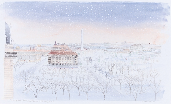 Mall in Winter : Signed Limited Edition Prints : Susan Davis Art | artist, painter, illustrator, New Yorker covers, artwork, limited edition signed prints